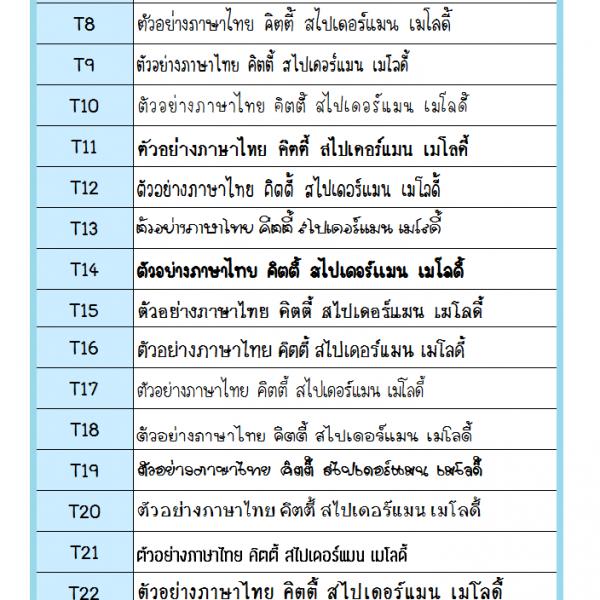 ฟอนต์ไทย 2560